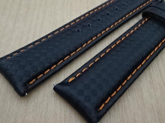 腕時計用ベルト カーボン柄ラバー 20mm 黒/橙ステッチ ブラック/オレンジステッチ バンド_画像3