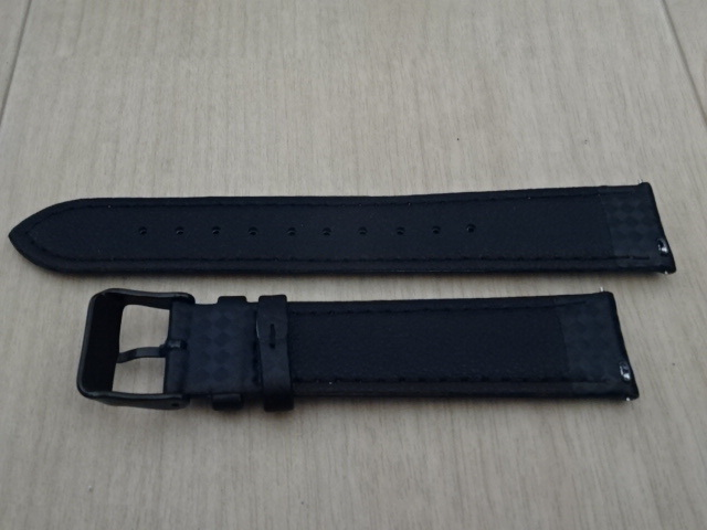 腕時計用ベルト カーボン柄ラバー 20mm 黒/橙ステッチ ブラック/オレンジステッチ バンド_画像4