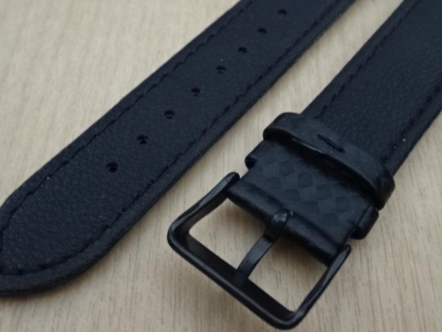 腕時計用ベルト カーボン柄ラバー 20mm 黒/橙ステッチ ブラック/オレンジステッチ バンド_画像5