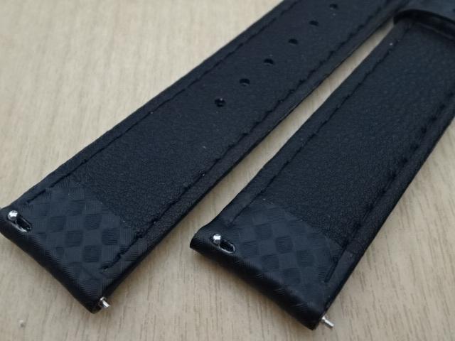 腕時計用ベルト カーボン柄ラバー 20mm 黒/橙ステッチ ブラック/オレンジステッチ バンド_画像6