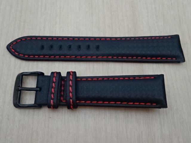腕時計用ベルト カーボン柄ラバー 裏面レザー 20mm 黒/赤ステッチ ブラック/レッドステッチ ブラックバックル バンド_画像1