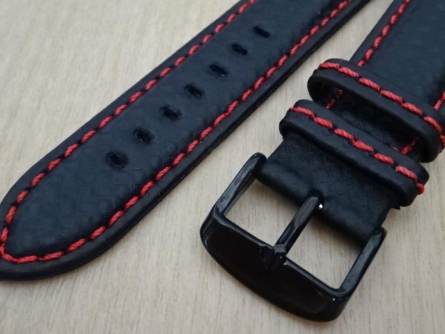 腕時計用ベルト カーボン柄ラバー 裏面レザー 20mm 黒/赤ステッチ ブラック/レッドステッチ ブラックバックル バンド_画像2