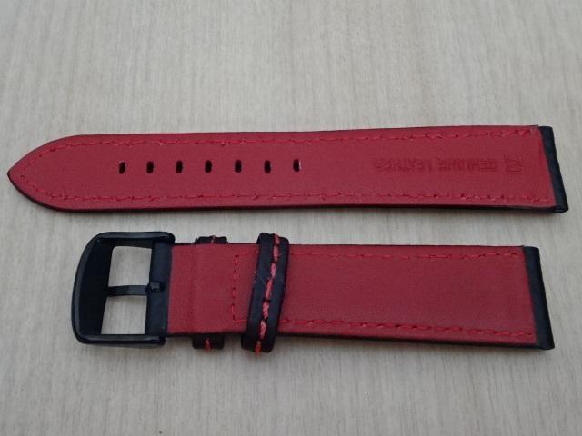 腕時計用ベルト カーボン柄ラバー 裏面レザー 20mm 黒/赤ステッチ ブラック/レッドステッチ ブラックバックル バンド_画像4