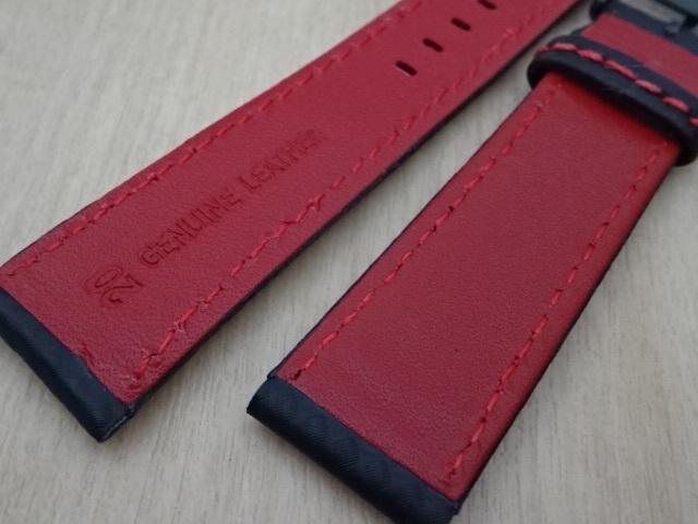 腕時計用ベルト カーボン柄ラバー 裏面レザー 20mm 黒/赤ステッチ ブラック/レッドステッチ ブラックバックル バンド_画像6