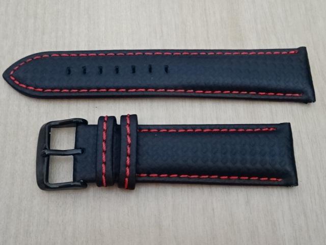 腕時計用ベルト カーボン柄ラバー 裏面レザー 22mm 黒/赤ステッチ ブラック/レッドステッチ バンド_画像1