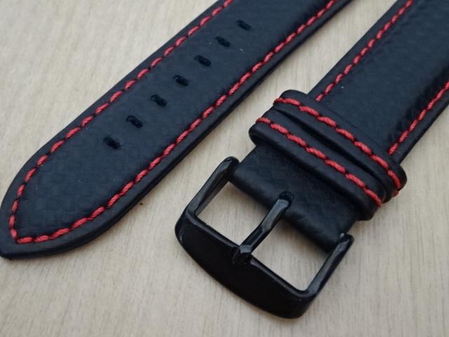 腕時計用ベルト カーボン柄ラバー 裏面レザー 22mm 黒/赤ステッチ ブラック/レッドステッチ バンド_画像2