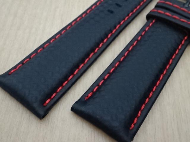 腕時計用ベルト カーボン柄ラバー 裏面レザー 22mm 黒/赤ステッチ ブラック/レッドステッチ バンド_画像3
