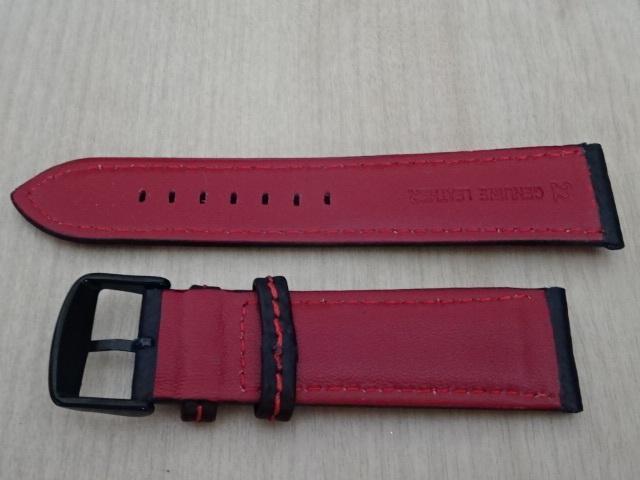 腕時計用ベルト カーボン柄ラバー 裏面レザー 22mm 黒/赤ステッチ ブラック/レッドステッチ バンド_画像4