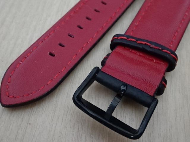 腕時計用ベルト カーボン柄ラバー 裏面レザー 22mm 黒/赤ステッチ ブラック/レッドステッチ バンド_画像5
