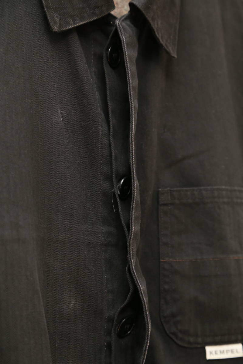 ★ドイツ製kempelケンペル着脱式裏地付き(日本製)ライトコート  古着ジャケットJK黒ブラック薄手SMLメンズアウター上着ライナー_画像8