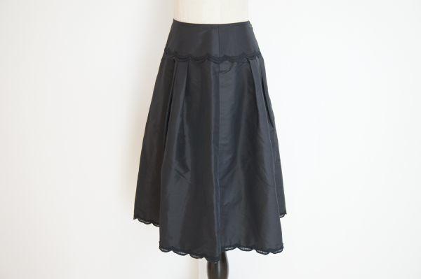 即決 銀座マギー MAGGY 膝丈 フレアースカート 38 ブラック バックジップ ボトムス レディース [552569] クリックポストも可能です! #⑥_横