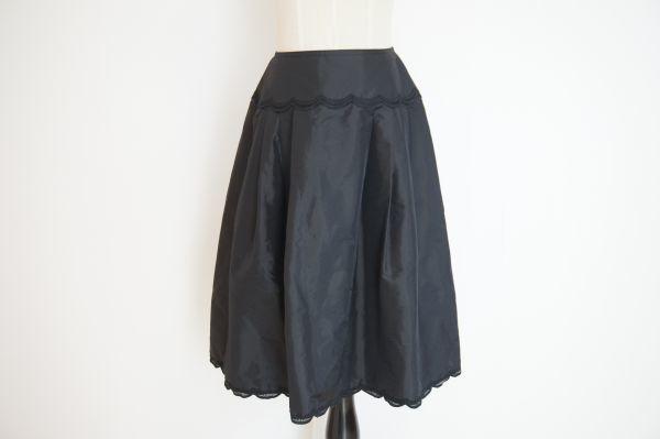 即決 銀座マギー MAGGY 膝丈 フレアースカート 38 ブラック バックジップ ボトムス レディース [552569] クリックポストも可能です! #⑥_画像1