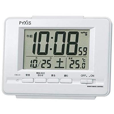 【送料無料】3■SEIKO 電波置時計_PYXIS_ホワイト■オートカレンダー・ライト付・アラームオートストップ機能♪