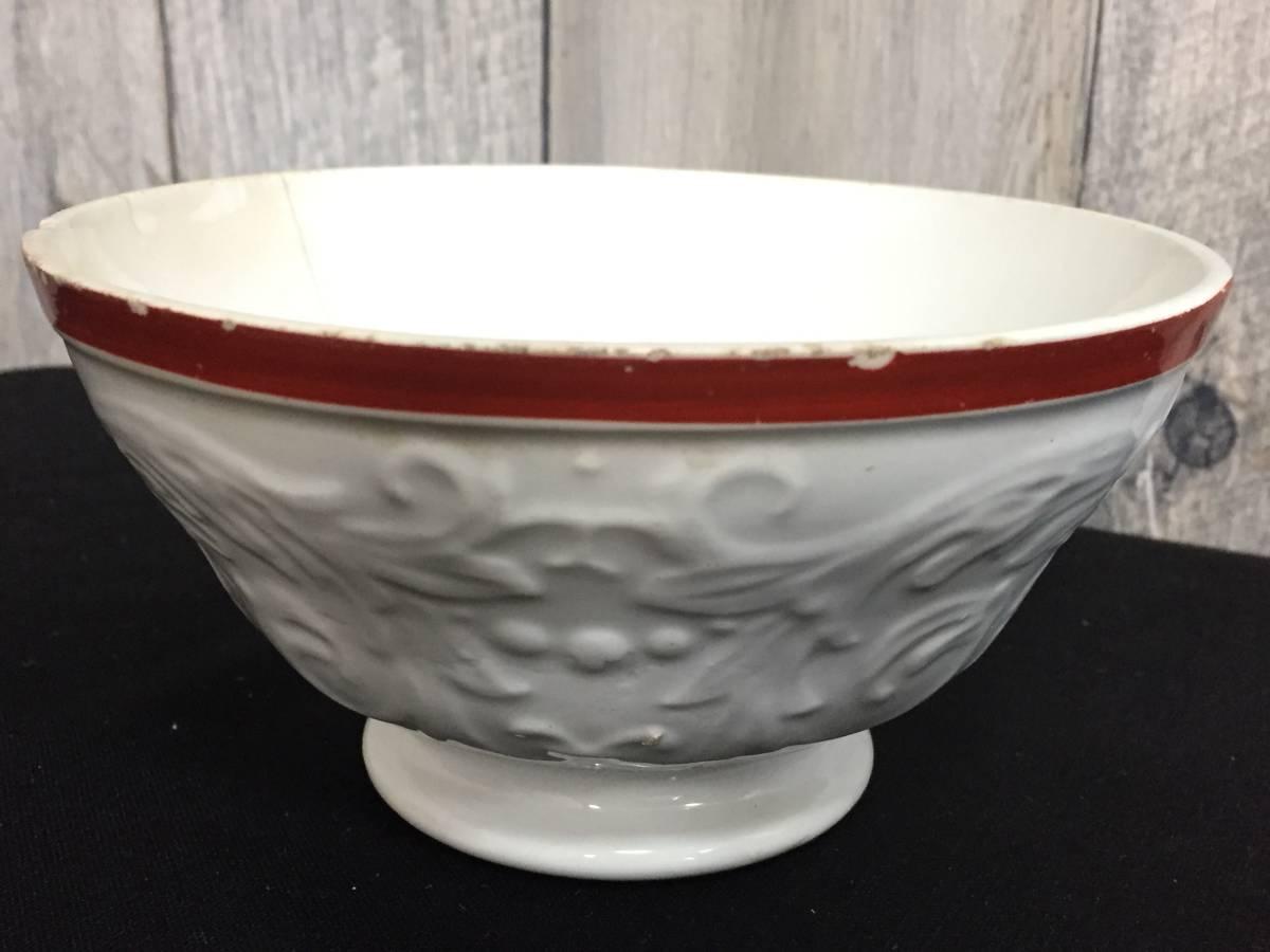 フランス製 アンティーク カフェオレボウル ホワイトxレッド 花 葉 陶器 食器 ヴィンテージ 1904435