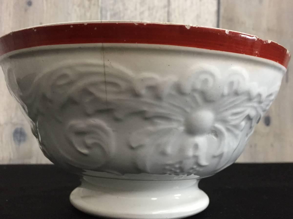 フランス製 アンティーク カフェオレボウル ホワイトxレッド 花 葉 陶器 食器 ヴィンテージ 1904435_画像3