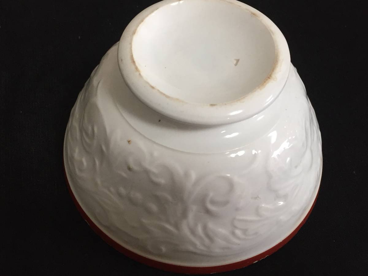 フランス製 アンティーク カフェオレボウル ホワイトxレッド 花 葉 陶器 食器 ヴィンテージ 1904435_画像4