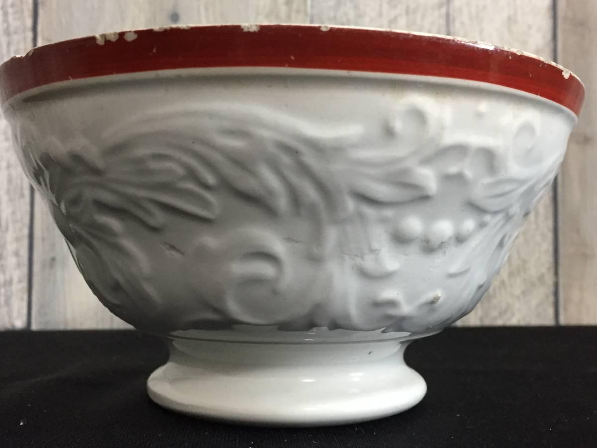フランス製 アンティーク カフェオレボウル ホワイトxレッド 花 葉 陶器 食器 ヴィンテージ 1904435_画像2