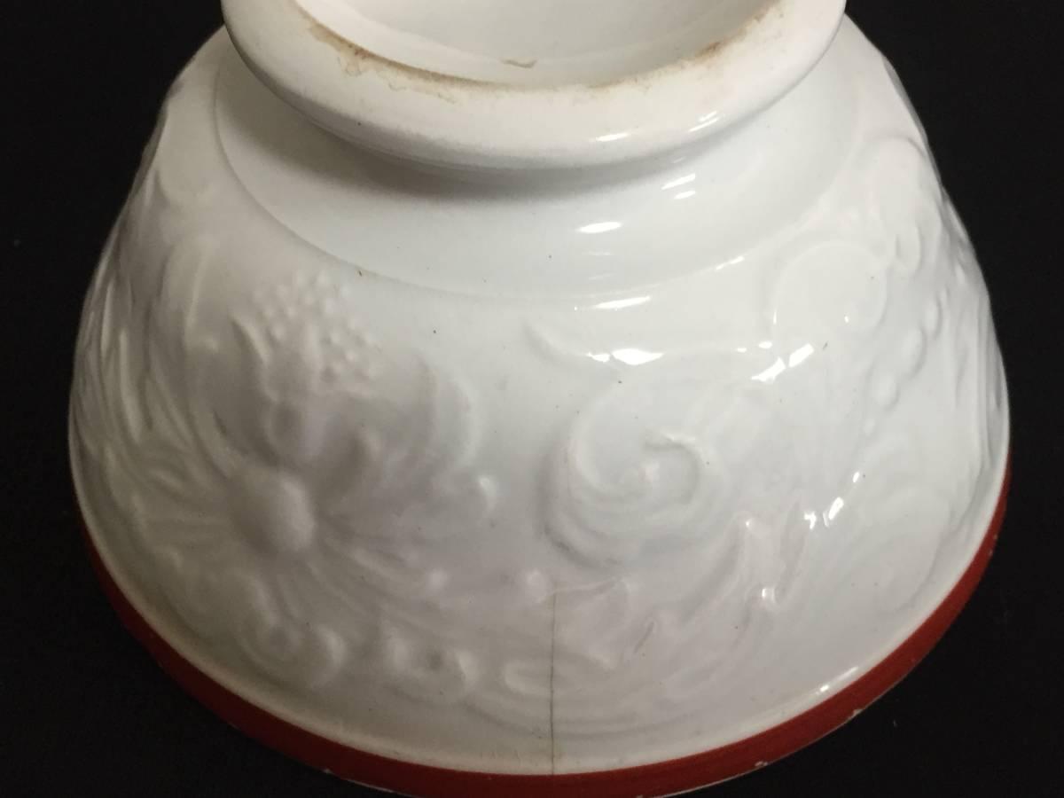 フランス製 アンティーク カフェオレボウル ホワイトxレッド 花 葉 陶器 食器 ヴィンテージ 1904435_画像6