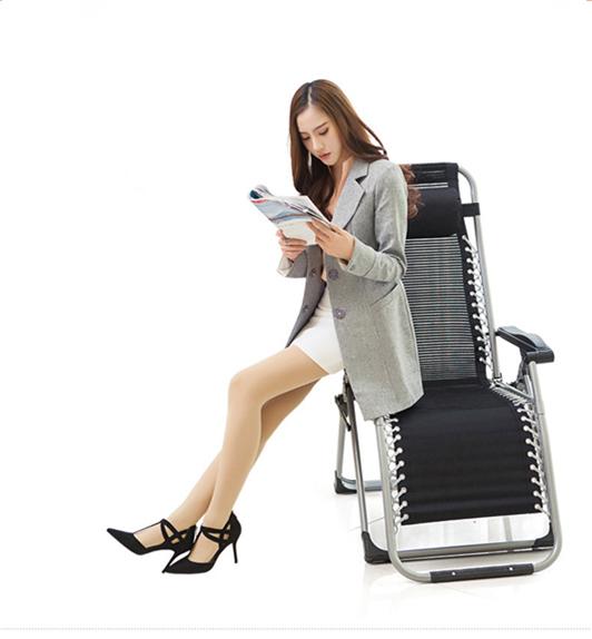 未使用 リクライニングチェア 折り畳み椅子メッシュ布 通気性耐久性よい アウトドア用品 休憩ベッド 枕付き オフィス野外休憩_画像4