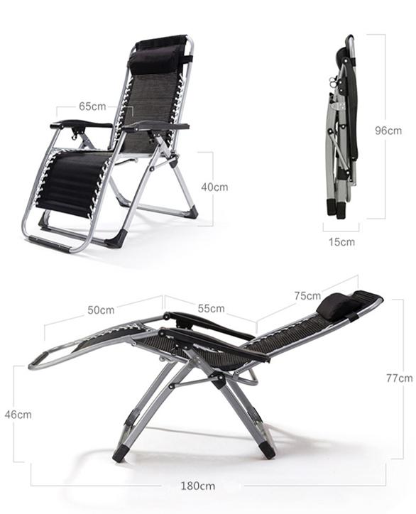 未使用 リクライニングチェア 折り畳み椅子メッシュ布 通気性耐久性よい アウトドア用品 休憩ベッド 枕付き オフィス野外休憩_画像2