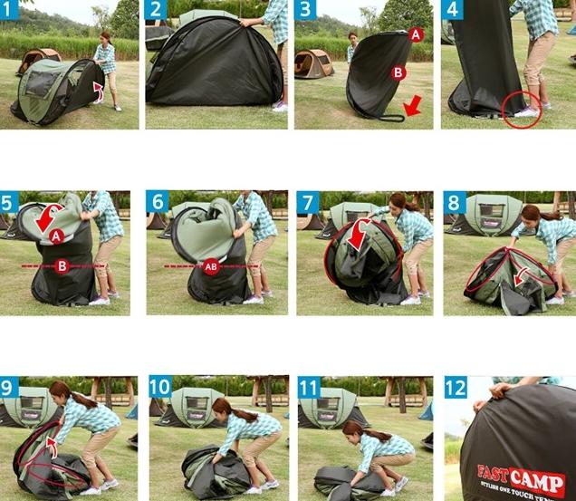 設営時間短縮!ワンタッチドーム型テント簡単展開 アウトドア キャンプバーベキューBBQ 3~4人用_画像5