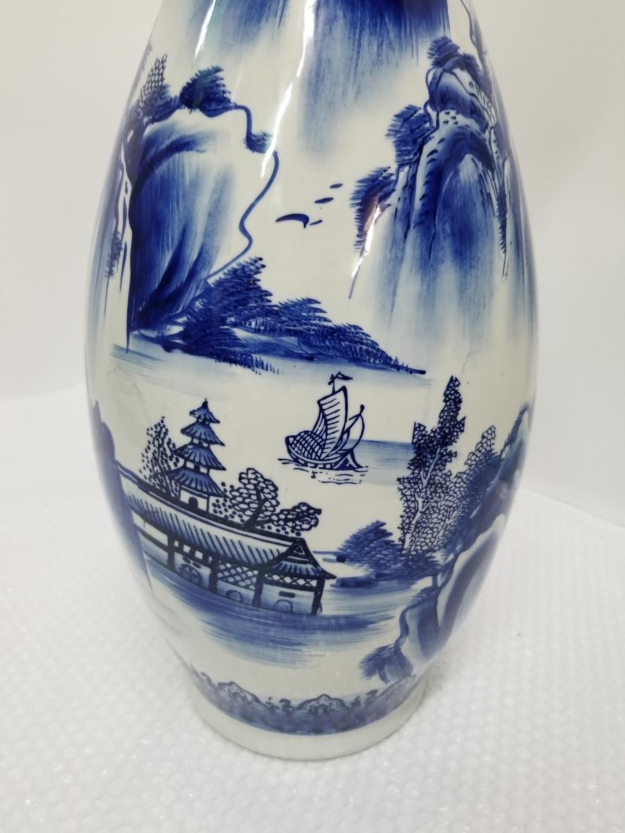 特大 ツボ 壺 花瓶 大 壷 花道具 花入  山水画 骨董 和風 置物 高さ 61cm前後_画像2