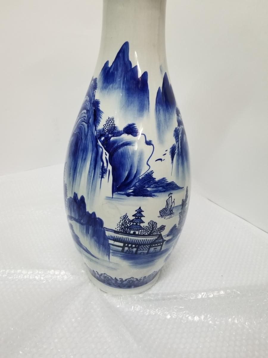 特大 ツボ 壺 花瓶 大 壷 花道具 花入  山水画 骨董 和風 置物 高さ 61cm前後_画像5