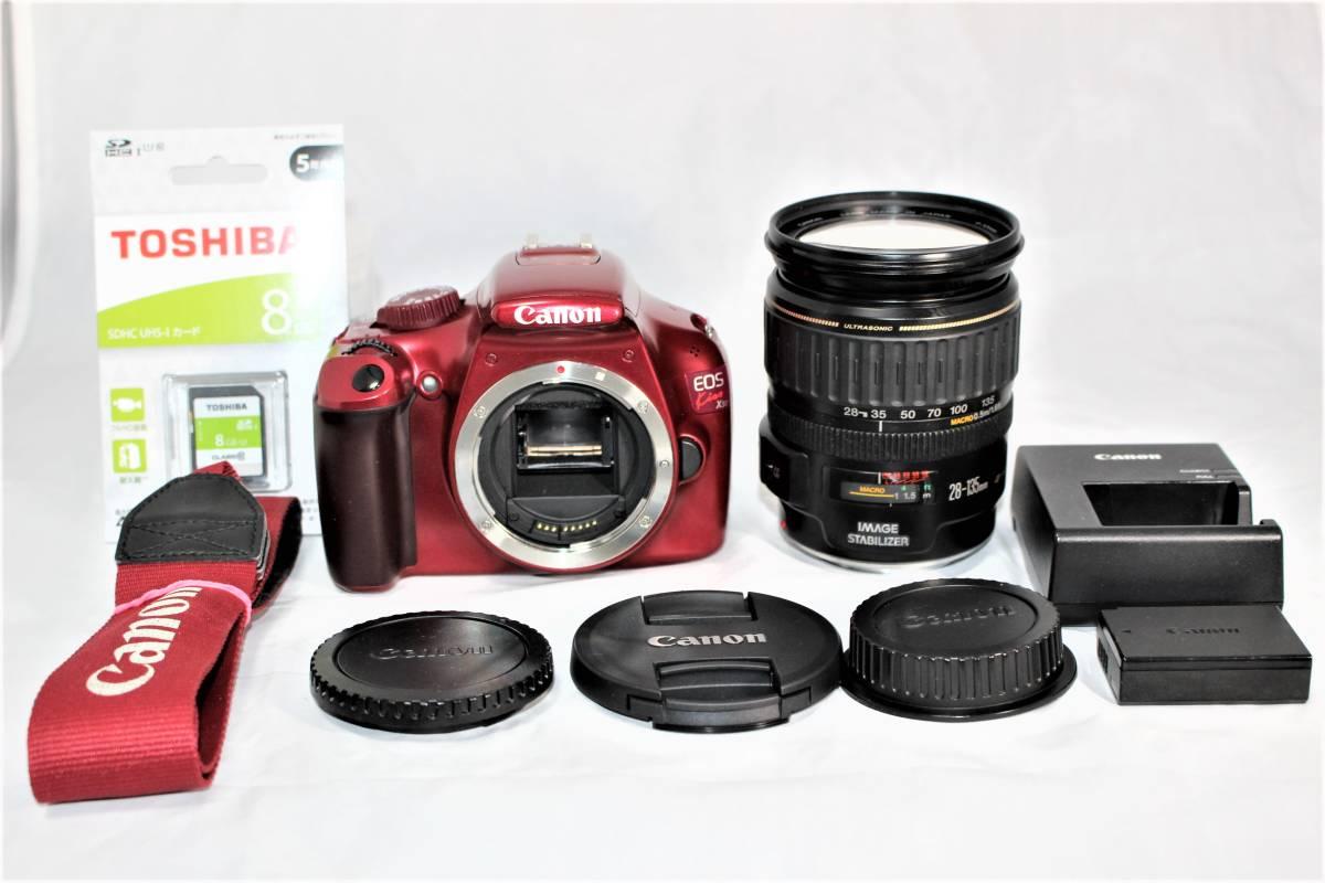 ★人気のレッド★ キャノン Canon デジタル一眼レフカメラ EOS Kiss X50 EF28-135mm レンズセット■SDカード付き■K-23A19-147