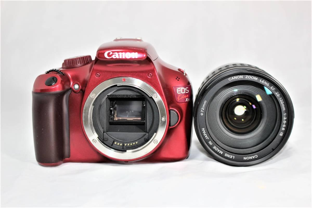 ★人気のレッド★ キャノン Canon デジタル一眼レフカメラ EOS Kiss X50 EF28-135mm レンズセット■SDカード付き■K-23A19-147_画像2