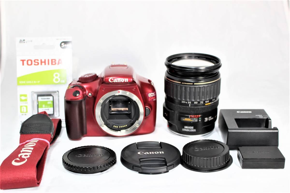 ★人気のレッド★ キャノン Canon デジタル一眼レフカメラ EOS Kiss X50 EF28-135mm レンズセット■SDカード付き■K-23A19-147_画像6
