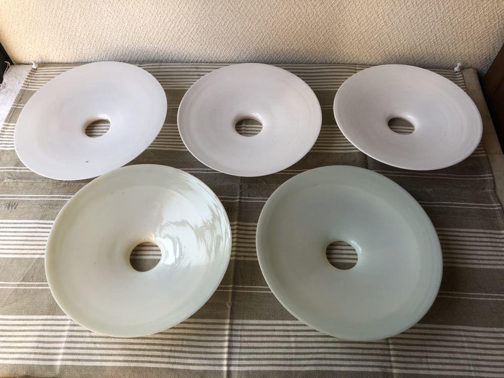 【昭和レトロ 4-6】電笠 電傘 ランプシェード 乳白ガラス 天吊 5枚セット 笠のみ_画像4