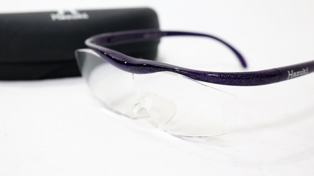 73TVR Hazuki/ハズキルーペ クリアレンズ ラージ1.6倍 パープルラメ 紫 アイウェア 純正ケース付き