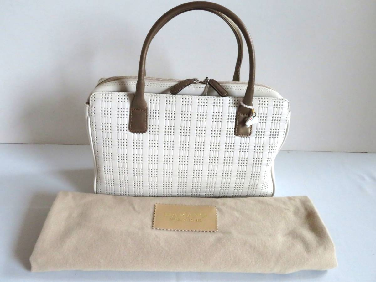 BG127★1000円★HAMANO YAMATOYA GINNZA 銀座 ホワイト 白 レザー 柔らかい レディース 女性 高級バッグ ハンドバッグ 保存袋