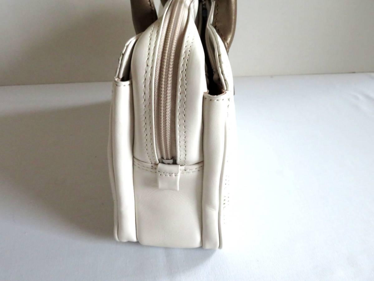 BG127★1000円★HAMANO YAMATOYA GINNZA 銀座 ホワイト 白 レザー 柔らかい レディース 女性 高級バッグ ハンドバッグ 保存袋_画像5