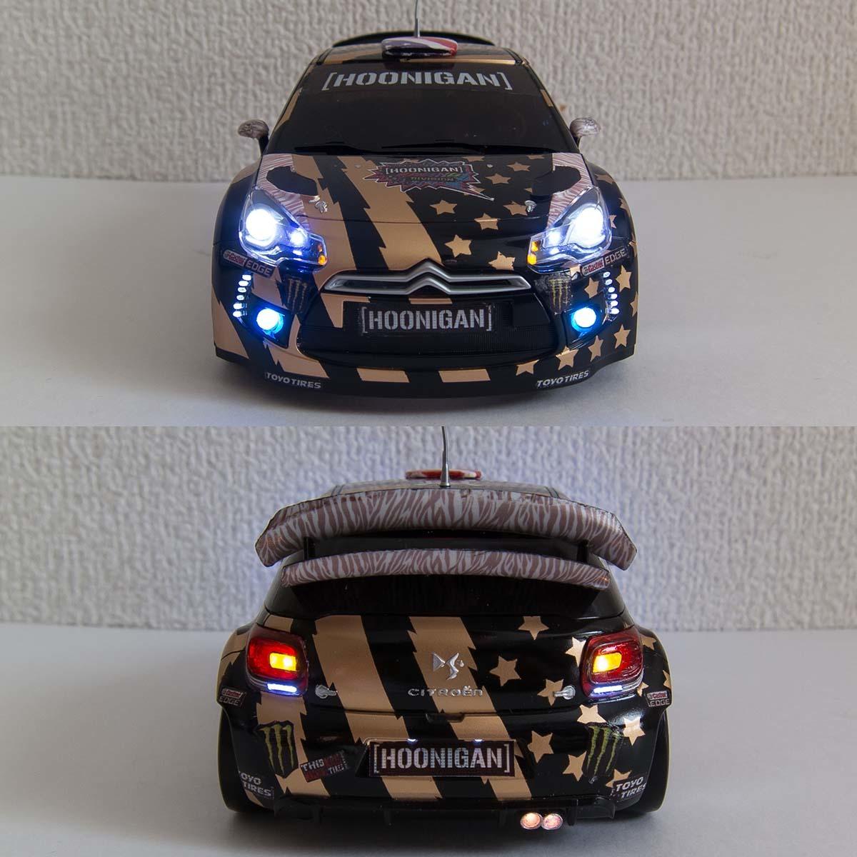 ミニッツ 自作電飾ボディ シトロエンDS3 WRC 2011 フル電飾・ジャイロ連動ウインカー / VEシャーシ専用_画像4