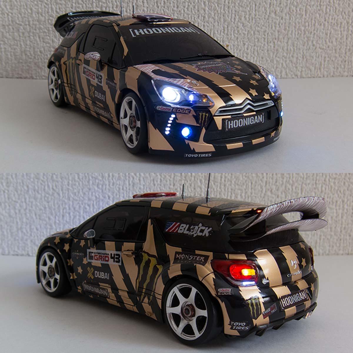 ミニッツ 自作電飾ボディ シトロエンDS3 WRC 2011 フル電飾・ジャイロ連動ウインカー / VEシャーシ専用_画像6