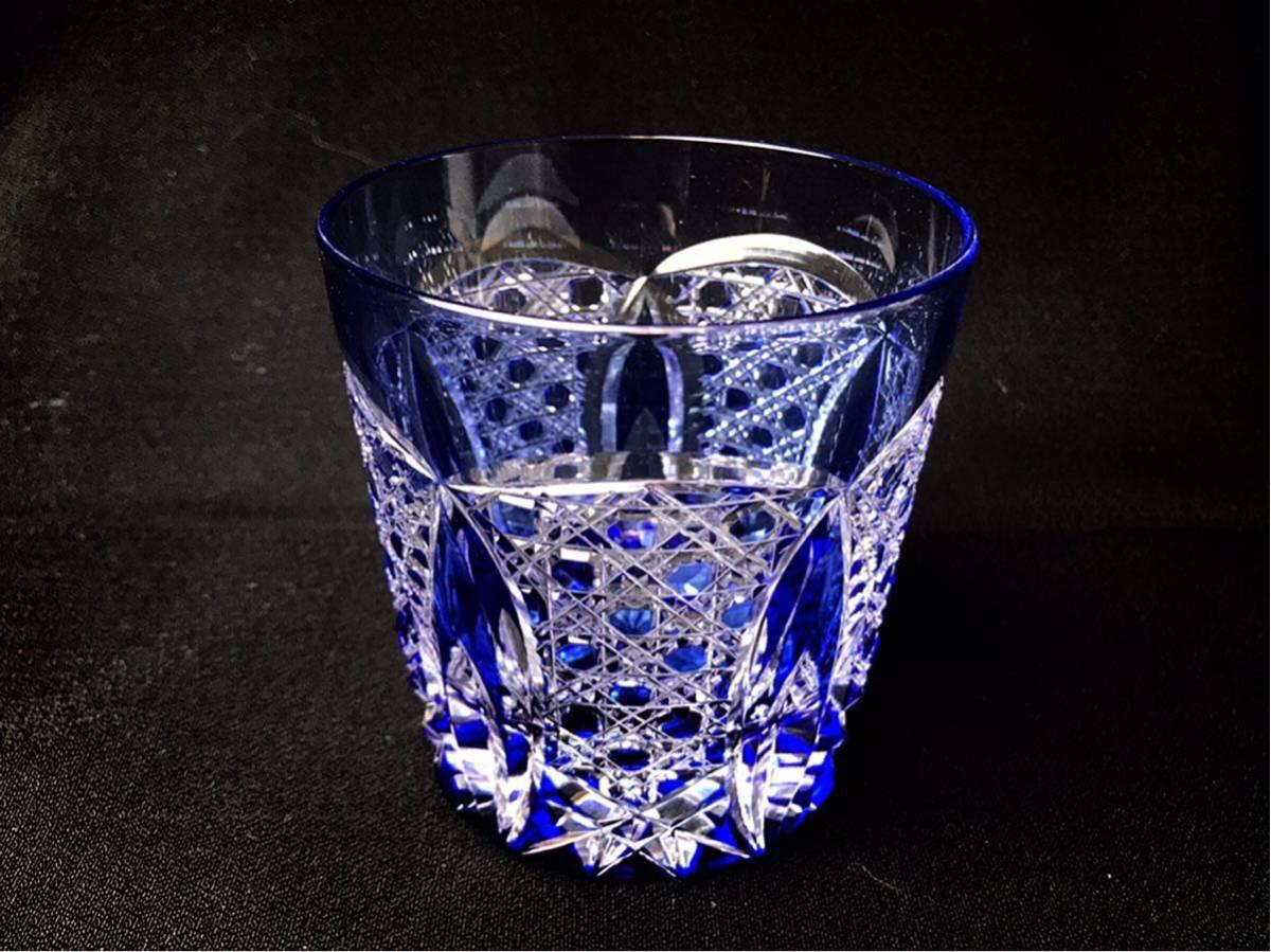 ■ PORSCHE CENTER SAKAI Opening Novelty 切子 クリスタル ロックグラス ブルー ズッシリと重くグラス_画像3
