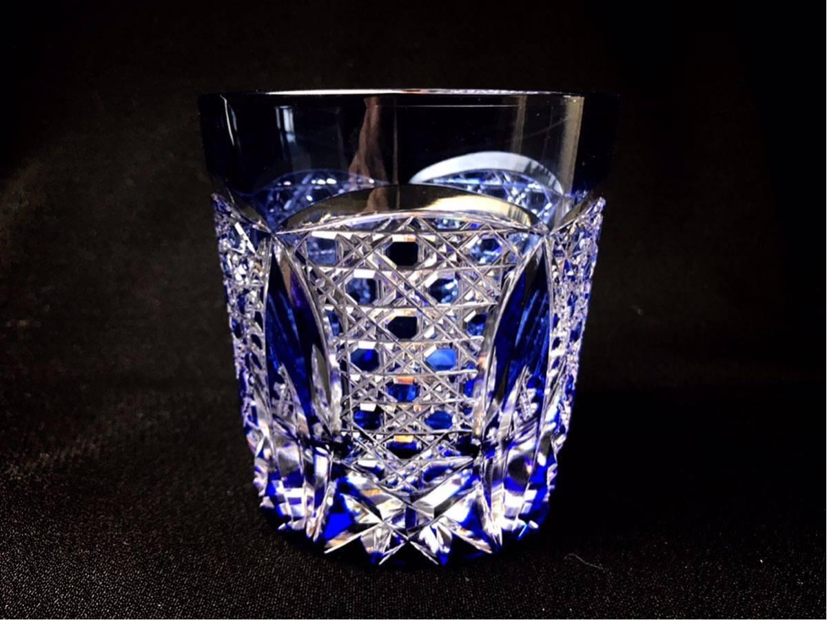 ■ PORSCHE CENTER SAKAI Opening Novelty 切子 クリスタル ロックグラス ブルー ズッシリと重くグラス_画像2