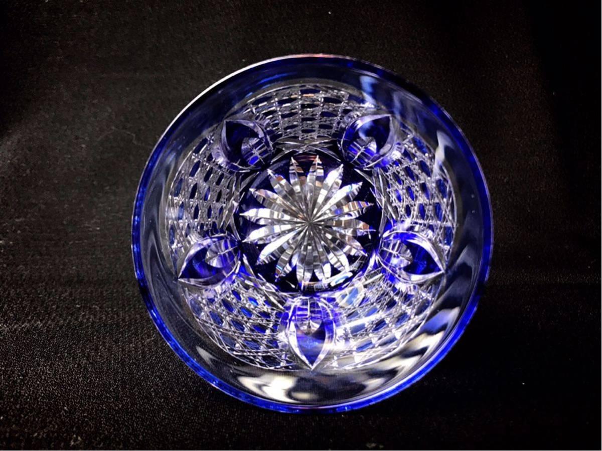 ■ PORSCHE CENTER SAKAI Opening Novelty 切子 クリスタル ロックグラス ブルー ズッシリと重くグラス_画像4