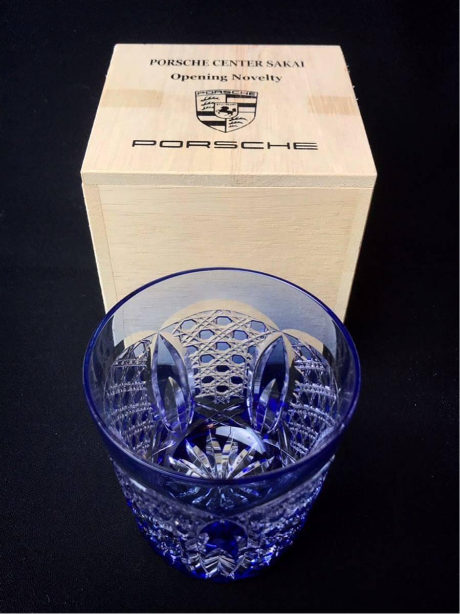 ■ PORSCHE CENTER SAKAI Opening Novelty 切子 クリスタル ロックグラス ブルー ズッシリと重くグラス_画像5