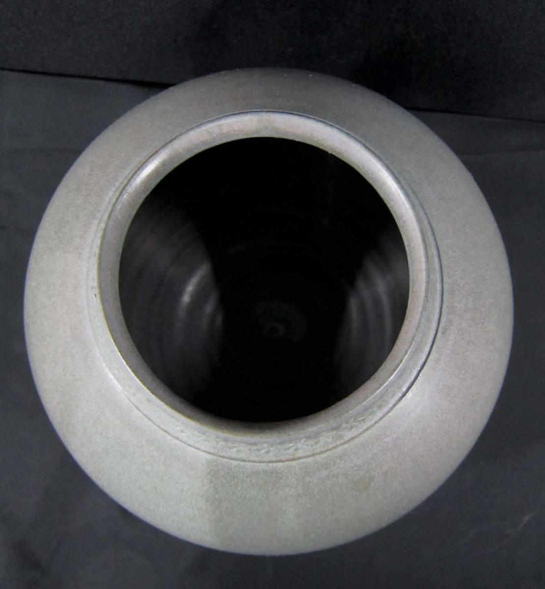 砥部焼 大西光 青白磁 花瓶 口径9.5×径18.5×高17cm_画像3