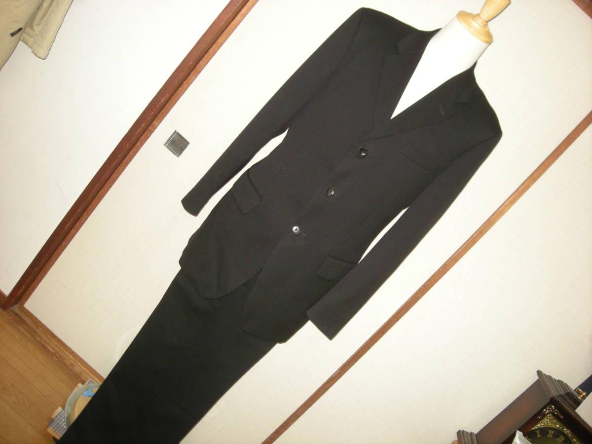 DX HIROKO KOSHINO ヒロコ コシノ 美品 黒 ブラック スーツ 3釦 サイドベンツ ツータック 98 Y8_画像1