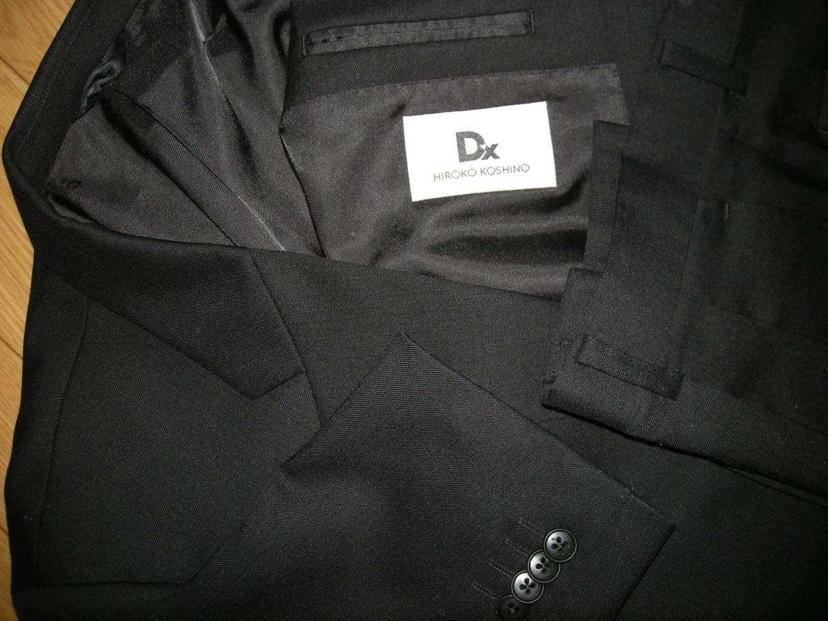 DX HIROKO KOSHINO ヒロコ コシノ 美品 黒 ブラック スーツ 3釦 サイドベンツ ツータック 98 Y8_画像2