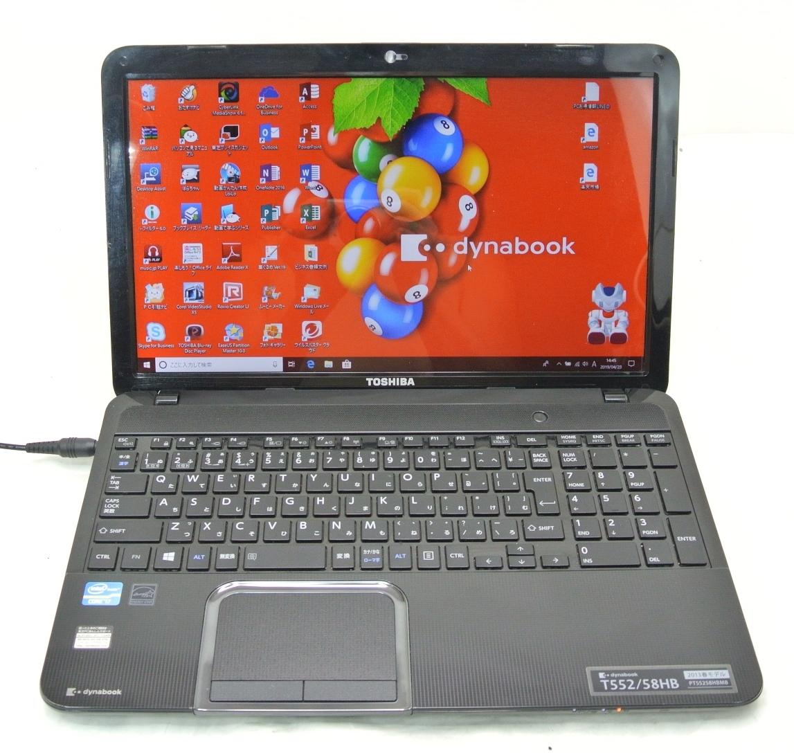 爆速SSD500G仕様 TOSHIBA T552/58HB 黒/i7-3630QM/8G/新SSD500G/ブルーレイRE/無線・USB3.0/Win10/office2016/ゲーム・映画・事務作業