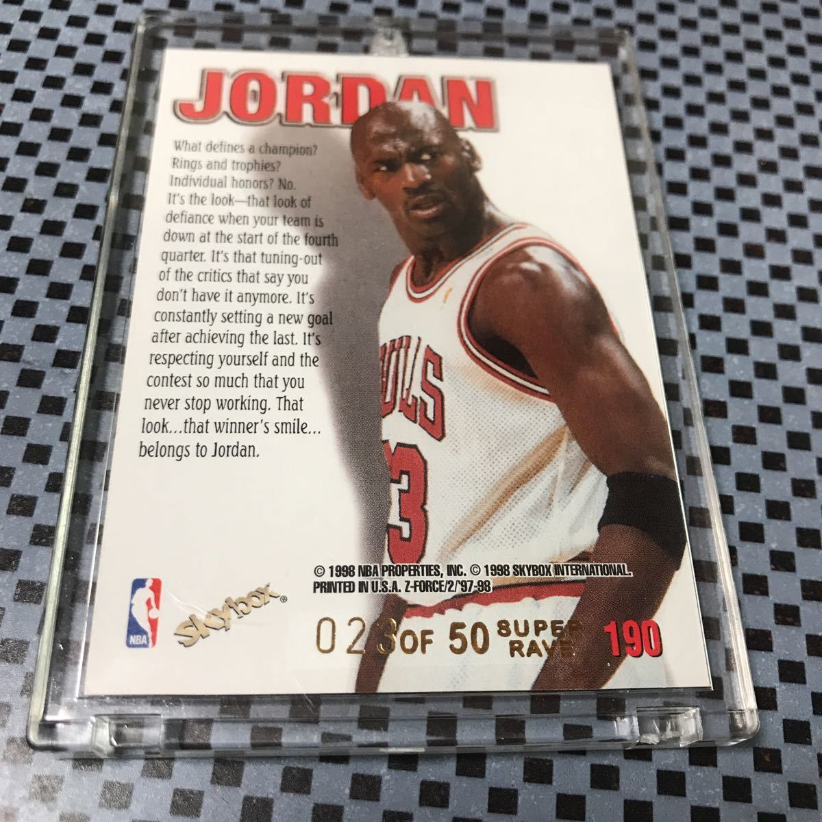 1997-98 Skybox Z-Force Super Rave Michael Jordan Zuperman /50 _画像3