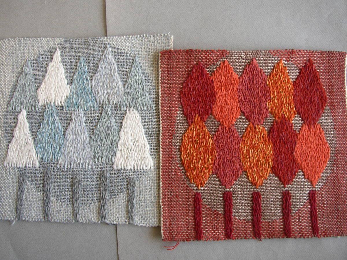 スウェーデン織  技法『スナイリー』秋木立と冬木立2点 北欧テキスタイル  伝統手工芸