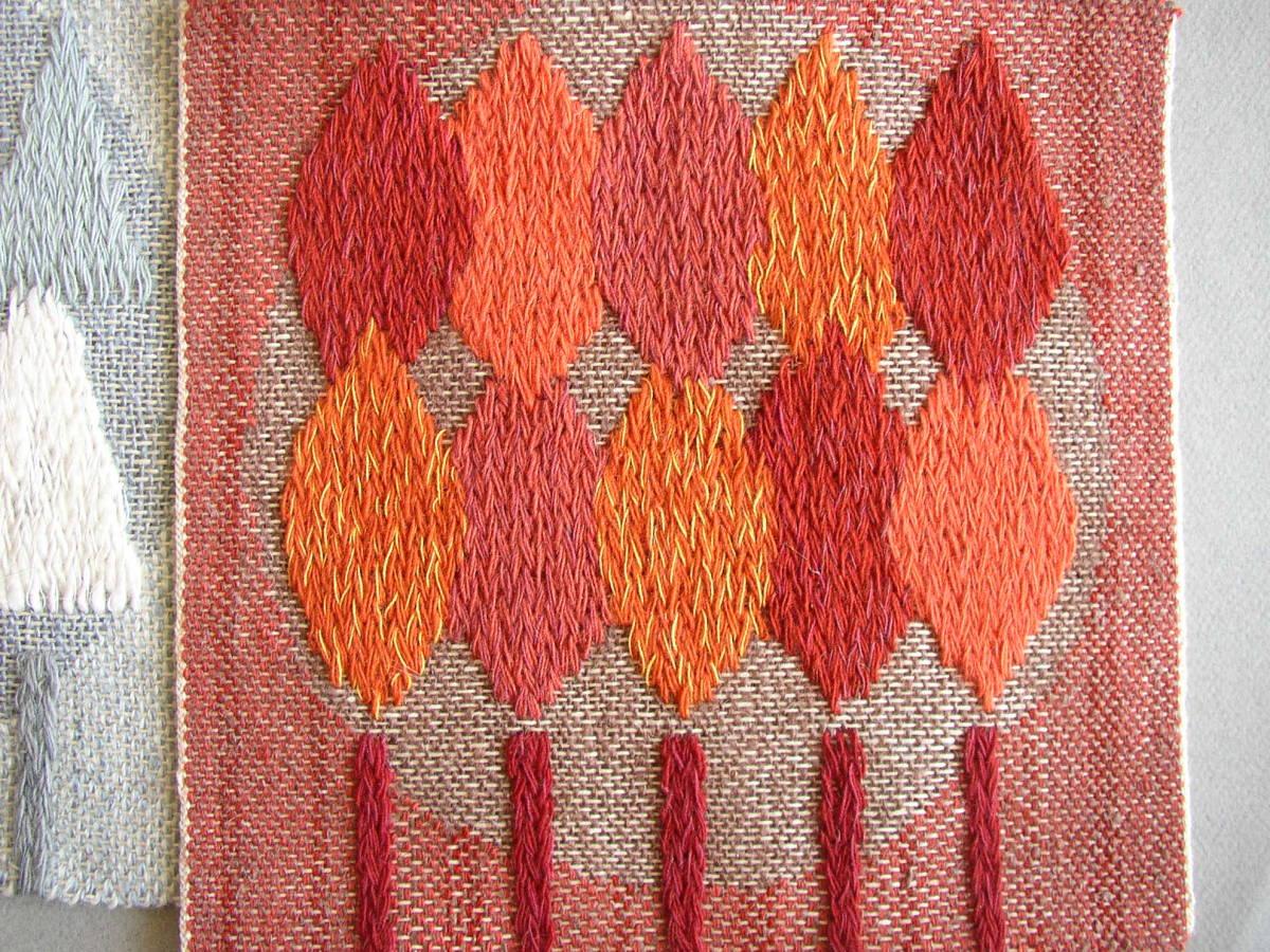 スウェーデン織  技法『スナイリー』秋木立と冬木立2点 北欧テキスタイル  伝統手工芸_画像2
