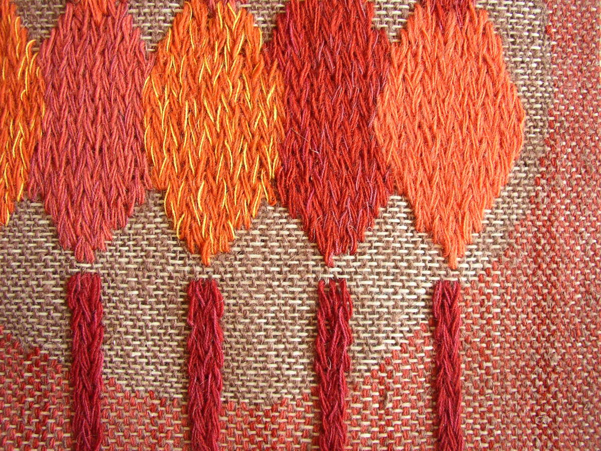 スウェーデン織  技法『スナイリー』秋木立と冬木立2点 北欧テキスタイル  伝統手工芸_画像4