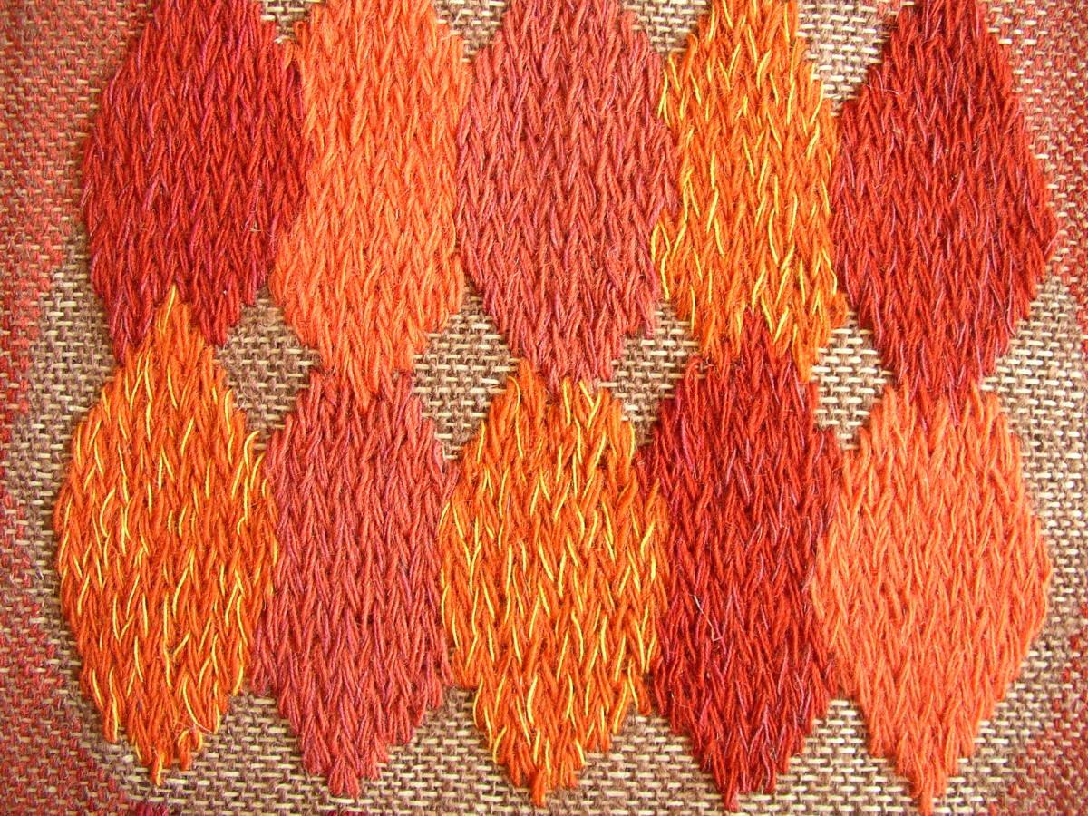 スウェーデン織  技法『スナイリー』秋木立と冬木立2点 北欧テキスタイル  伝統手工芸_画像5