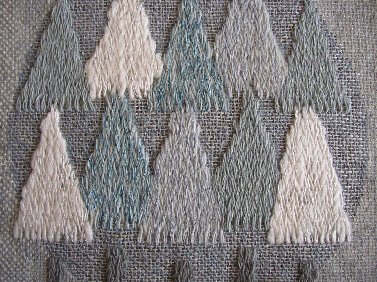 スウェーデン織  技法『スナイリー』秋木立と冬木立2点 北欧テキスタイル  伝統手工芸_画像8
